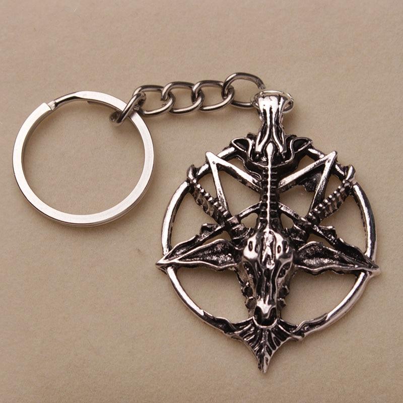 Baphomet Keychain Pentagram Goat Head Key Chains Satan Keyring Sigil of Baphomet LaVey New Design Keychains
