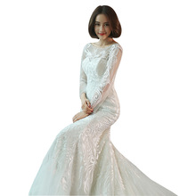 car&ffiv Mermaid Long Sleeve Wedding Dress 2019 Bride Dress