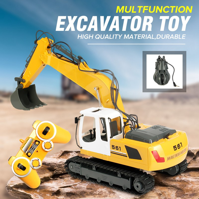 RC Excavator 17 Channel 2.4G Remote Control Construction Truck Crawler Digger Tractor Model Engineering RC Truck Toy huina 1510 rc excavator car 2 4g 11ch metal remote control engineering digger truck model electronic heavy machinery toy