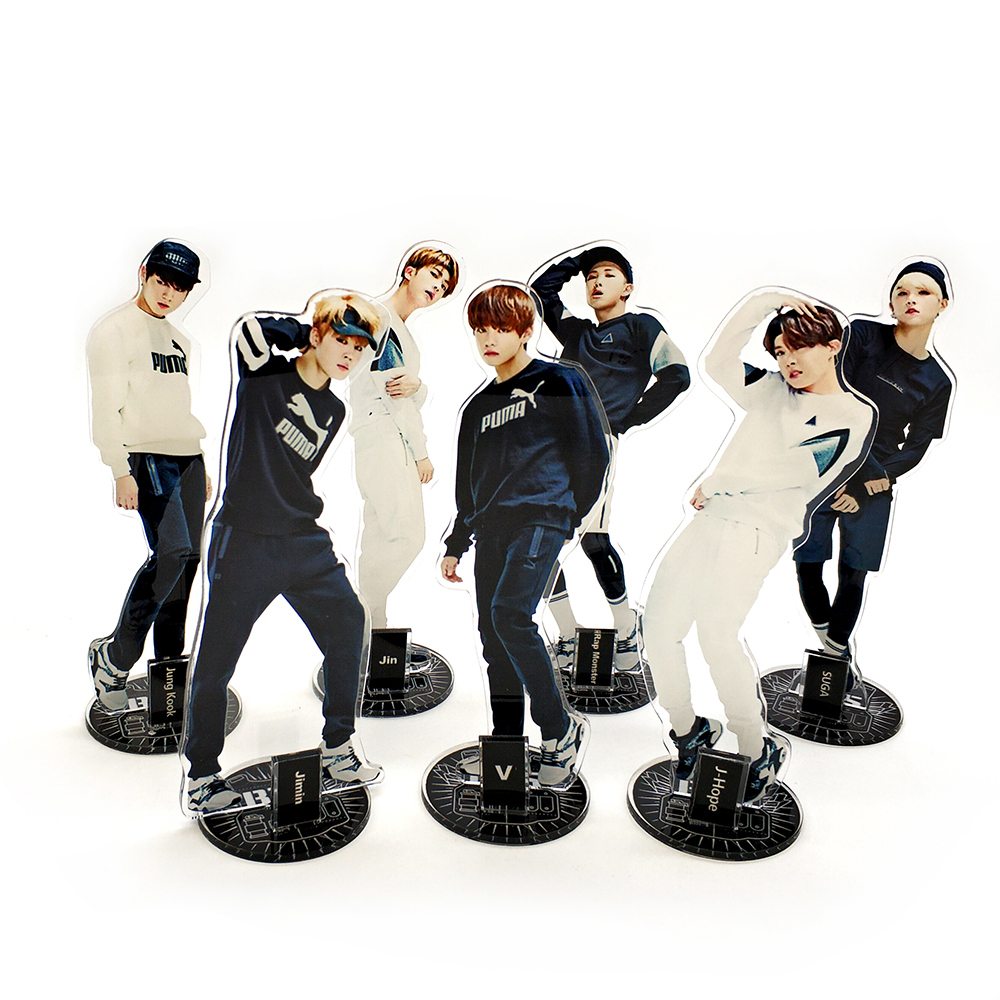 Love Thank You BTS Bangtan Boys KPOP stars group acrylic stand figure model double-side plate holder cake topper idol man