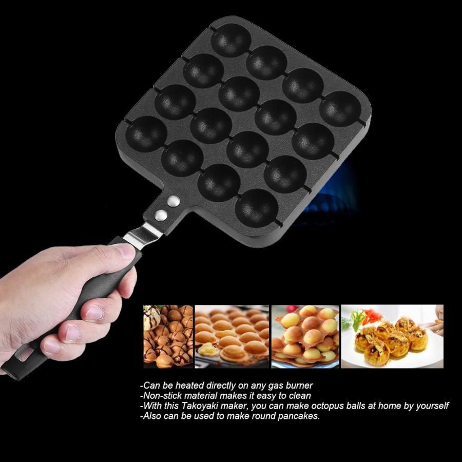 16 Holes Takoyaki Grill Cake Pan Octopus Ball Plate Egg Waffle Home Cooking Baking Tools Kitchen Accessories Black