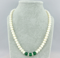7 8mm Red Green Agate Knife Face Freshwater Shell Pearls Necklace Round Jasper Beads Jewelry Natural
