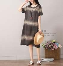 Женское Хлопковое платье в полоску повседневное свободное винтажное