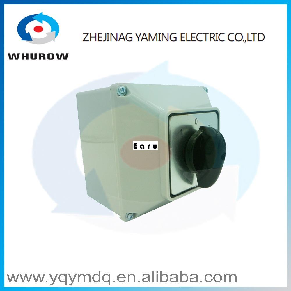 LW26-63M switch box with protective box 63A 2 poles High quality electrical momentary changeover rotary cam switch 660v ui 10a ith 8 terminals rotary cam universal changeover combination switch