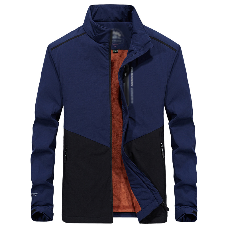 New winter warm thick velvet business jacket coat Men long sleeves Stand collar zipper outwear casual fleece outwear outfit 4XL