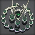 Green Garnet 925 Sterling Silver Jewelry Sets For Women Earrings/Rings/Pendant/Necklace/Bracelets Free Gift Box&Free Shipping