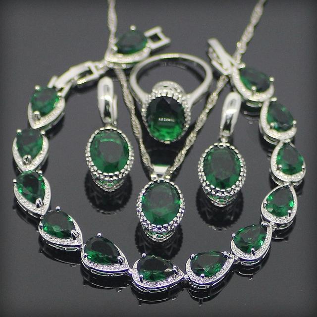 Verde Granate Plata 925 Sistemas de La Joyería Para Las Mujeres Pendientes/Anillos/Pendiente/Collar/Pulseras Regalo Box & Envío Gratuito