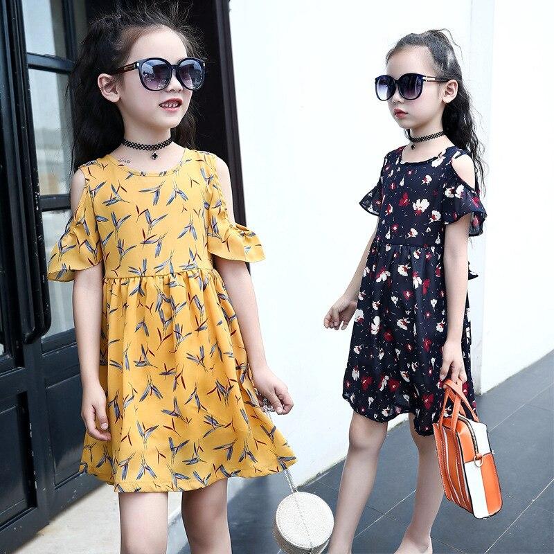 New Summer Girls Child Pure Shivering Dress Waist Bohemia Second Wind Leak Shoulder Chiffon Sandy Beach