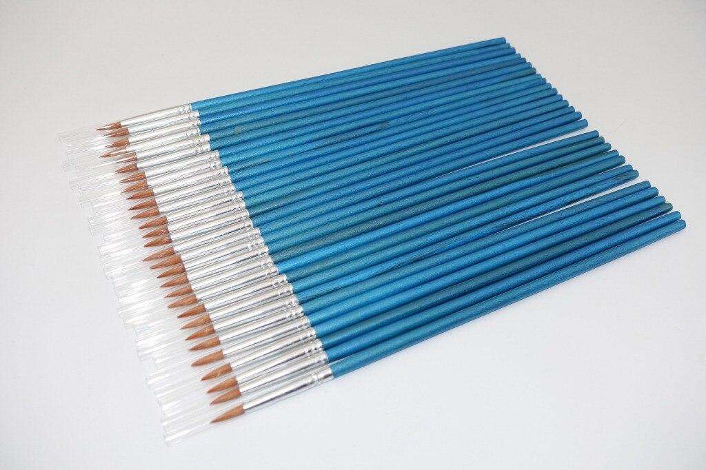 50 Pcs/set Multi Function Nylon Blue Short Wood Brush Water Powder Propene Watercolor Painting Pen Round Head Hook Line Pen