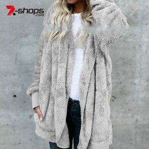 AECU Faux Fur Women Jacket Hoo