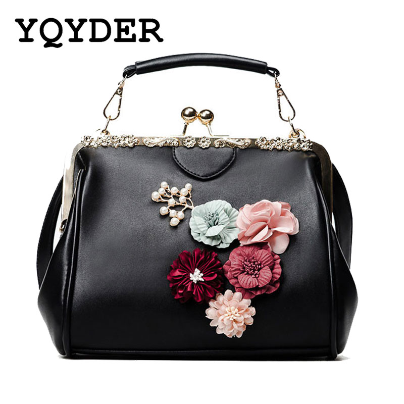 YQYDER New Woman Bags Flower Metal Frame Handbag Beaded Messenger Bag PU Crossbody Bag Brands Design Female Tote Pouch Sac 1
