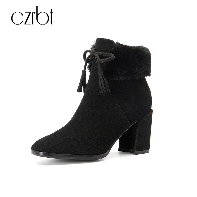 CZRBT Fashion Women Pointed Toe Boots Genuine Leather High Heel Boots Solid Color Fringe Thick Heels Winter Real Fur Ankle Boots czrbt retro style pointed toe genuine leather women ankle boots high heels 6 5cm patent leather deep color women casual shoes