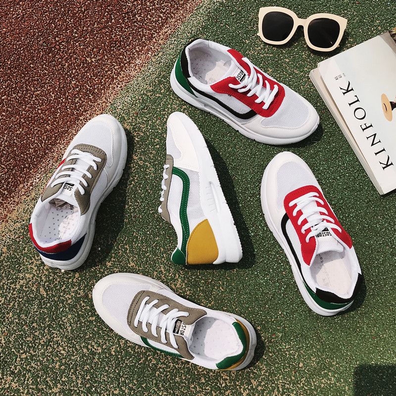 Summer 2018 Fashion Women Vulcanized Shoes Flat Sneakers Ladies Lace-up Casual Shoes Breathable Mesh Walking Canvas Shoesi