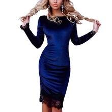 9eaf9a721bc Женское платье кружевное элегантное облегающее бархатное платье с длинным  рукавом повседневное велюровое платье 2019 весна осень