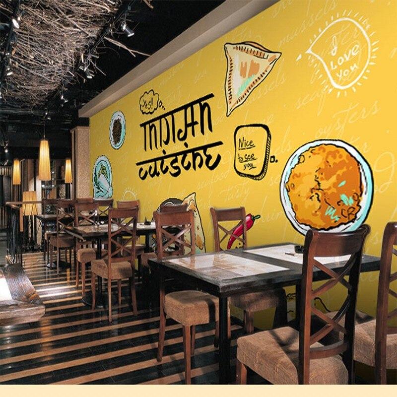 Photo Wallpaper Cute Cartoon Blackboard Graffiti Food Mural Coffee Shop Milk Tea Barbecue Sushi Bar Counter In Wallpapers From Home