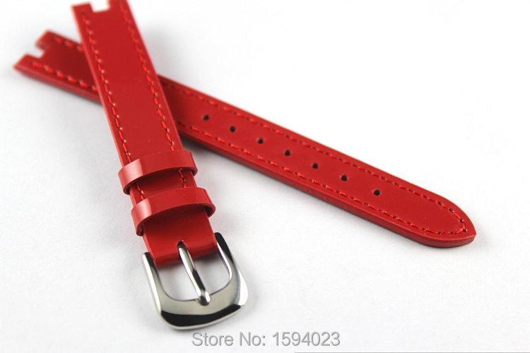 <font><b>12mm</b></font> (Buckle12mm) T084210A High Quality Pin <font><b>Buckle</b></font> + Red Genuine Leather Watch Bands Strap Free shipping image