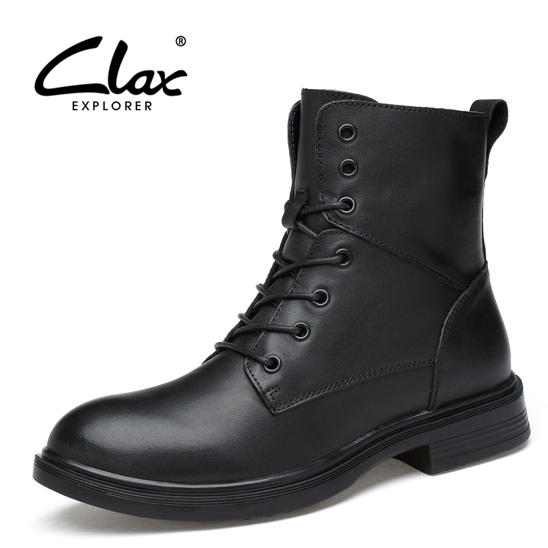 CLAX Men's Leather Boots Genuine Leather High Top Male Casual Boot Dress Shoe Autumn Winter Fashion Boot Plush Fur Warm Footwear цены онлайн