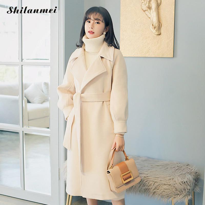 Gothique Casaco Feminino 2018 femmes automne hiver Simple laine Long Manteau Femme Robe survêtement Manteau Femme solide pardessus ceinturé