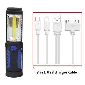 Image 2 - Lanterne lampe torche à LED Portable COB Rechargeable par USB, lumière de travail, lampe de Camping, avec batterie intégrée et crochet magnétique