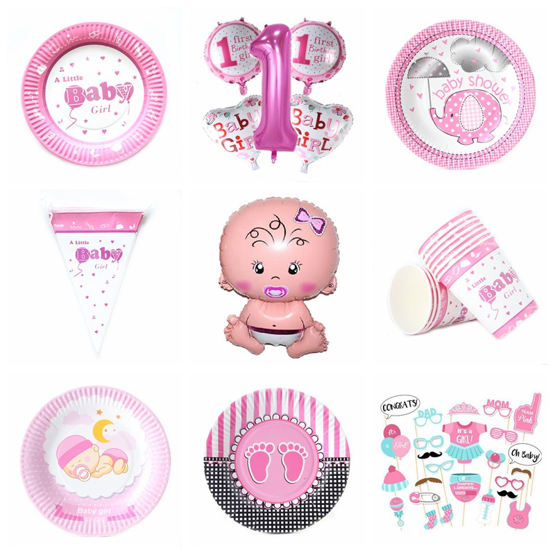 Girl Baby Theme Happy Birthday Party Set Balloon Tableware Plate Napkins Banner Candy Box Shower Decoration