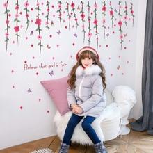 цена на SK7077 Self-Adhesive Romantic Flower Vine Wall Sticker Living Room Tv Background Art Wall Decals Home Decor Sticker Mural