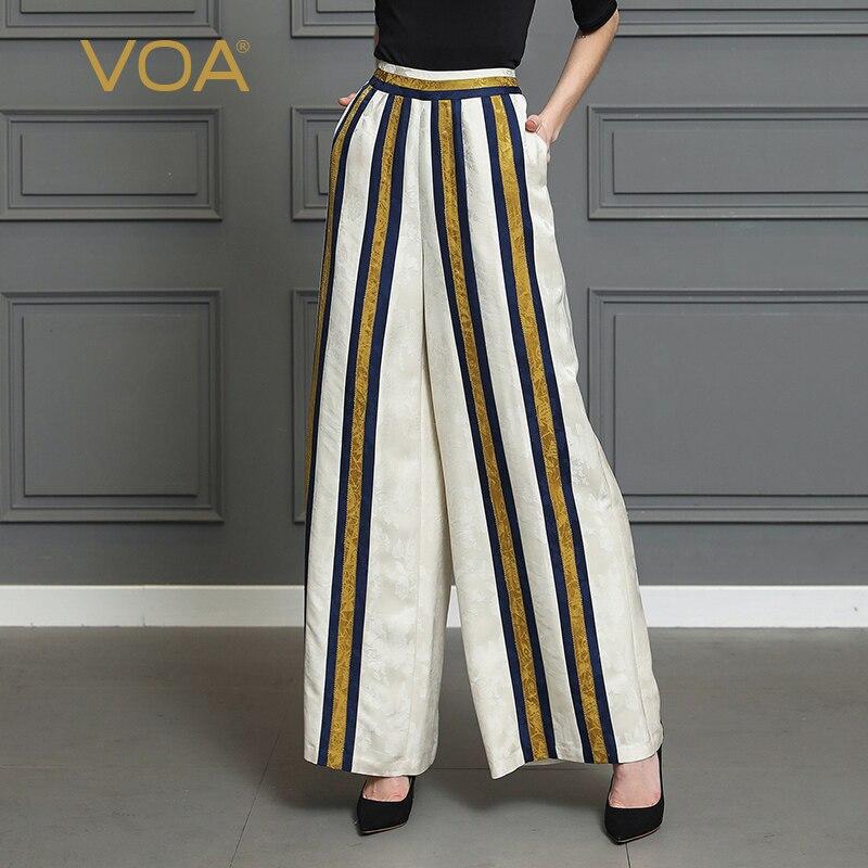 VOA Heavy Silk Stripe   Wide     Leg     Pants   Women Plus Size 5XL Long Trousers Office Jacquard Mid Waist Beige Casual Loose Pockets K310