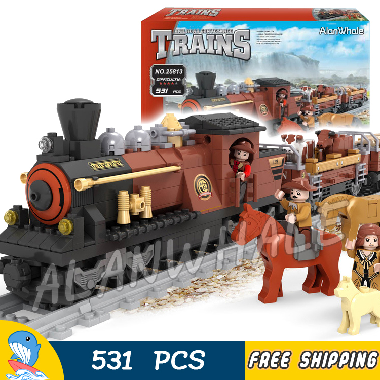 531pcs Train Creator Classical American Stea Red Locomotive 25813 Model Building Blocks Bricks Railway Toys Compatible With lego