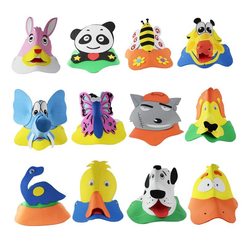 10 unids/lote tocado animal dibujos animados sombrero Eva sombrero ...