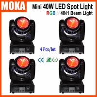 4 Pcs Lot RGBW 4IN1 Beam Stage LED Moving Head Spot Light DMX Sound Master Slave
