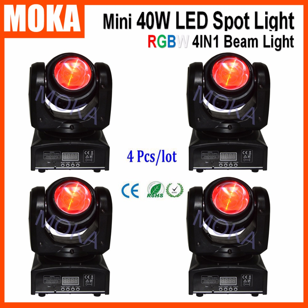 4 Pcs/lot RGBW 4IN1 Beam Stage LED Moving Head Spot Light DMX Sound Master/Slave Automated Running 7/16 DMX Channels Projector