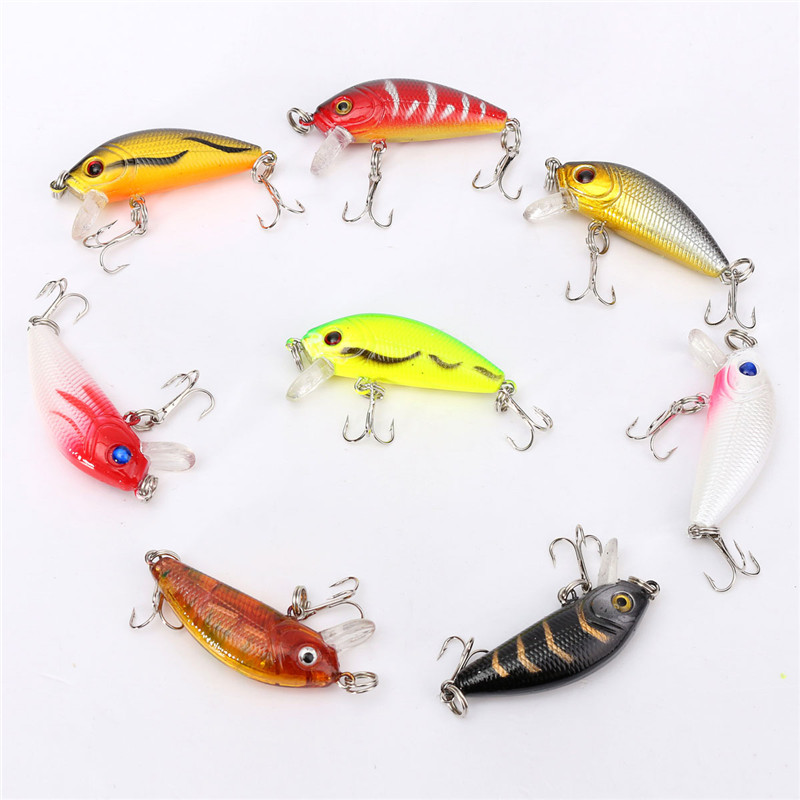 1 Pack Of 8pcs/lot Fishing Lures 5CM/3.6G Carp Artificial Bait Wobbler Fish Minnow Bass Lure Crankbait Trout Tackle Hook new 12pcs 7 5cm 5 6g fishing lure minnow hard bait sea fishing tackle crankbait fishing kit jig wobbler lures bait with hooks