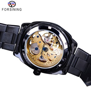 Image 4 - Forsining Retro Classic Royal Design Golden Skeleton Black Steel Transparent Mens Automatic Mechanical Watches Top Brand Luxury
