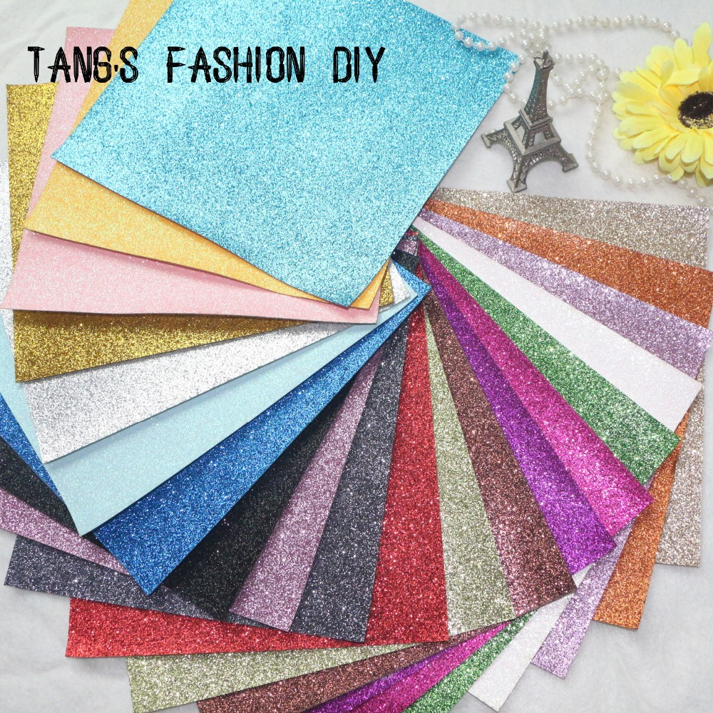 14 PCS / SET - 20X22CM PER PCS DIY High Quality Glitter syntetisk lær og Fabric / faux leather (Totalt 60 farger tilgjengelig)