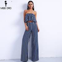 Missord 2018 Sexy Spring And Summer Women Two Pcs Set Striped Overalls Female Romper Elegant Jumpsuit