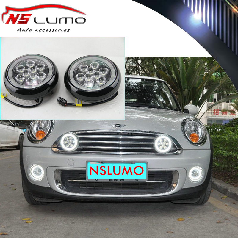 Special fit for MINI Cooper LED Rally Driving Lights w/ Halo Style Daytime Running Lamps 12V E4 approval for R55 R56 R57 R58 R60 new led daytime running lights drl with halo ring angel eyes for mini cooper rally driving lights front bumper 6000k 1900lm auto