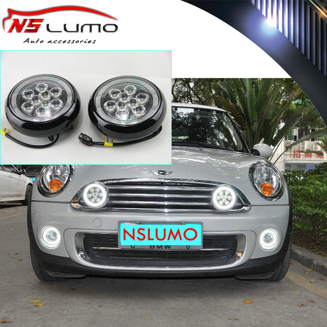 Special Fit For Mini Cooper Led Rally Driving Lights W Halo Style Daytime Running Lamps 12v E4 Roval R55 R56 R57 R58 R60