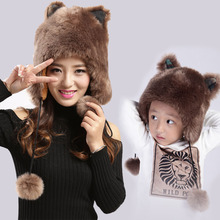Ms H&C new cute cartoon cat ear fur hats during the winter children with thick warm earmuffs Parent child Winter Hat