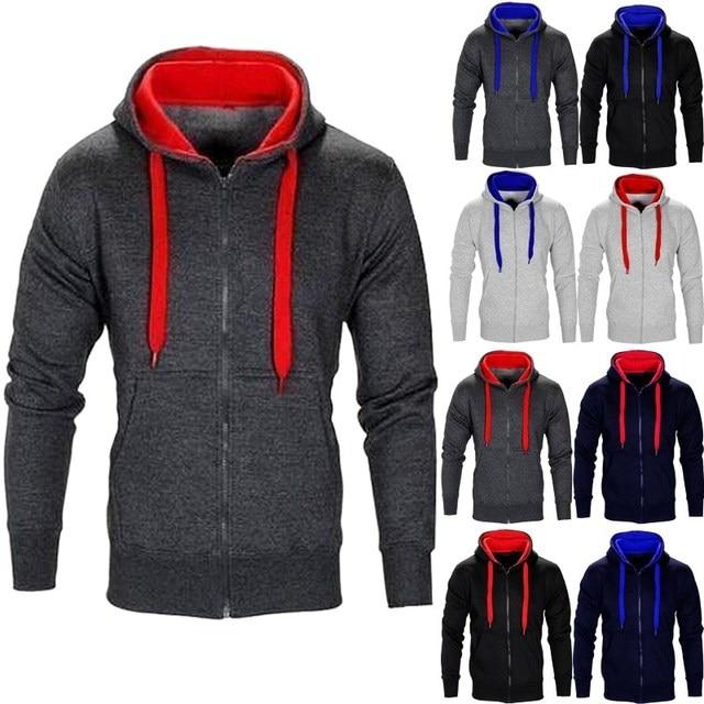 2017 Fashion Mens New Casual Zipper Hoodies Outwear Hooded Coat Front Pockets Jacket Long Sleeves Sweatshirt