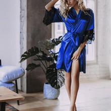 2019 New Sexy Lingerie Transparan Summer Sexy Women's Ladies Bride Robes Kimono Robe Satin Silk Lace Night Wear Gown Sleepwear