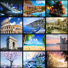 full Diamond EmbroideryRound Diamond Landscape flowing water Full 5D Diamond painting cross stitch