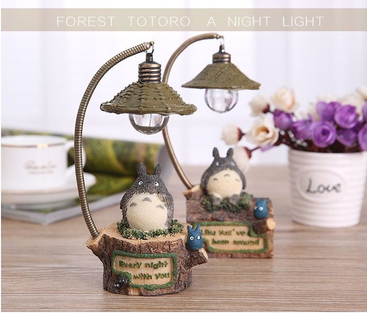 Hot Japanese Totoro Action Figure Toys Anime PVC Night Light Flashing Toys Sleeping Lamp Light For Children