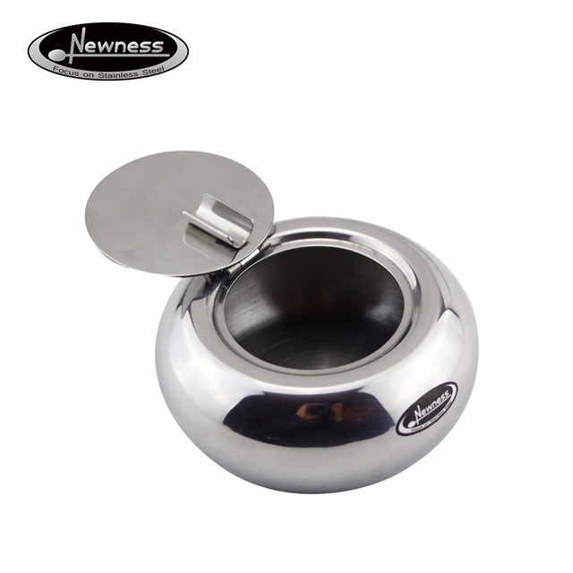 Newness Stainless Steel Modern Tabletop Ashtray with Lid ...