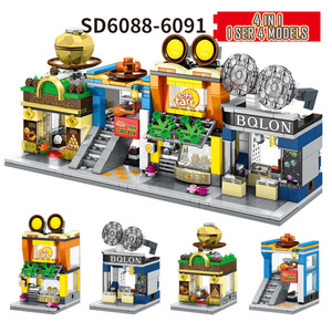 Image 5 - 4 في 1 شارع صغير اللبنات مدينة متجر العمارة الصينية نموذج سلسلة أطفال الإبداع اللعب متوافق معظم العلامات التجارية كتلة