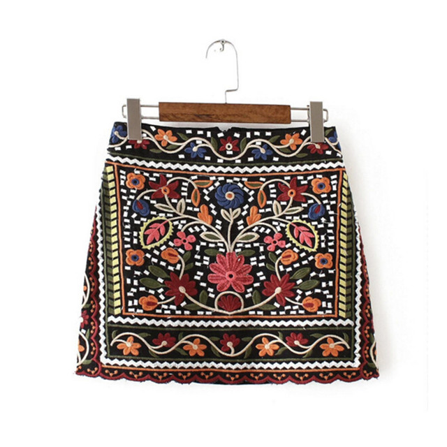 2016 Sexy Package Hips Flower Embroidery Skirt Summer New Women BOHO Contrast color Black mini short Skirts Femme