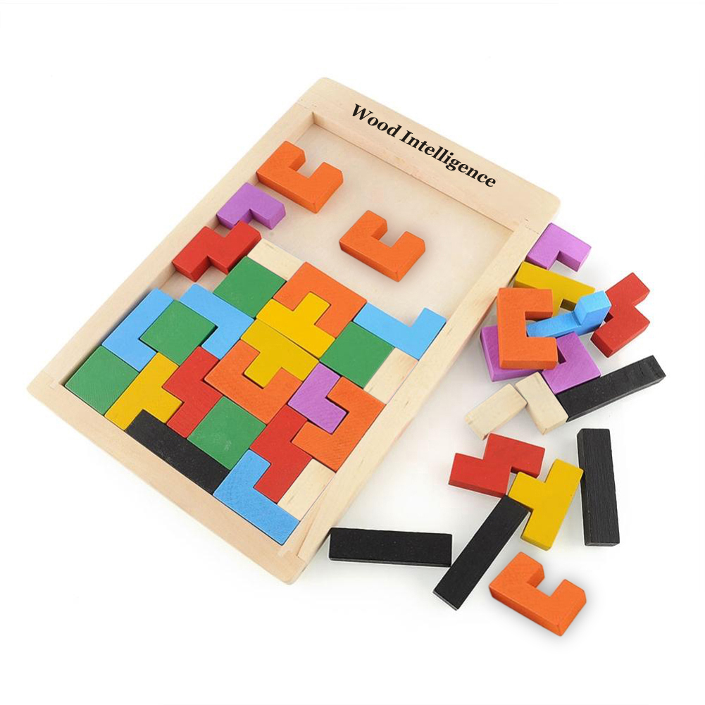 Colorful Baby Kids Toy Wooden Tetris Game Educational Jigsaw Puzzle Toys for Children Wood Tangram Brain-Teaser Puzzle Preschool