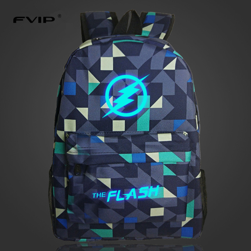 FVIP Hot Sell Lumious DC Comics Hero Flash Backpack The Flash Printing School Bag for Teenagers