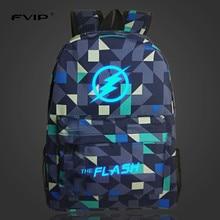 Lumious fvip venta caliente dc comics hero flash mochila el flash de impresión bolsa de ordenador portátil bolsa de la escuela para los adolescentes
