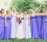 Простое недорогое фиолетовое платье подружки невесты длинное шифоновое платье трапециевидной формы для подружки невесты 2019