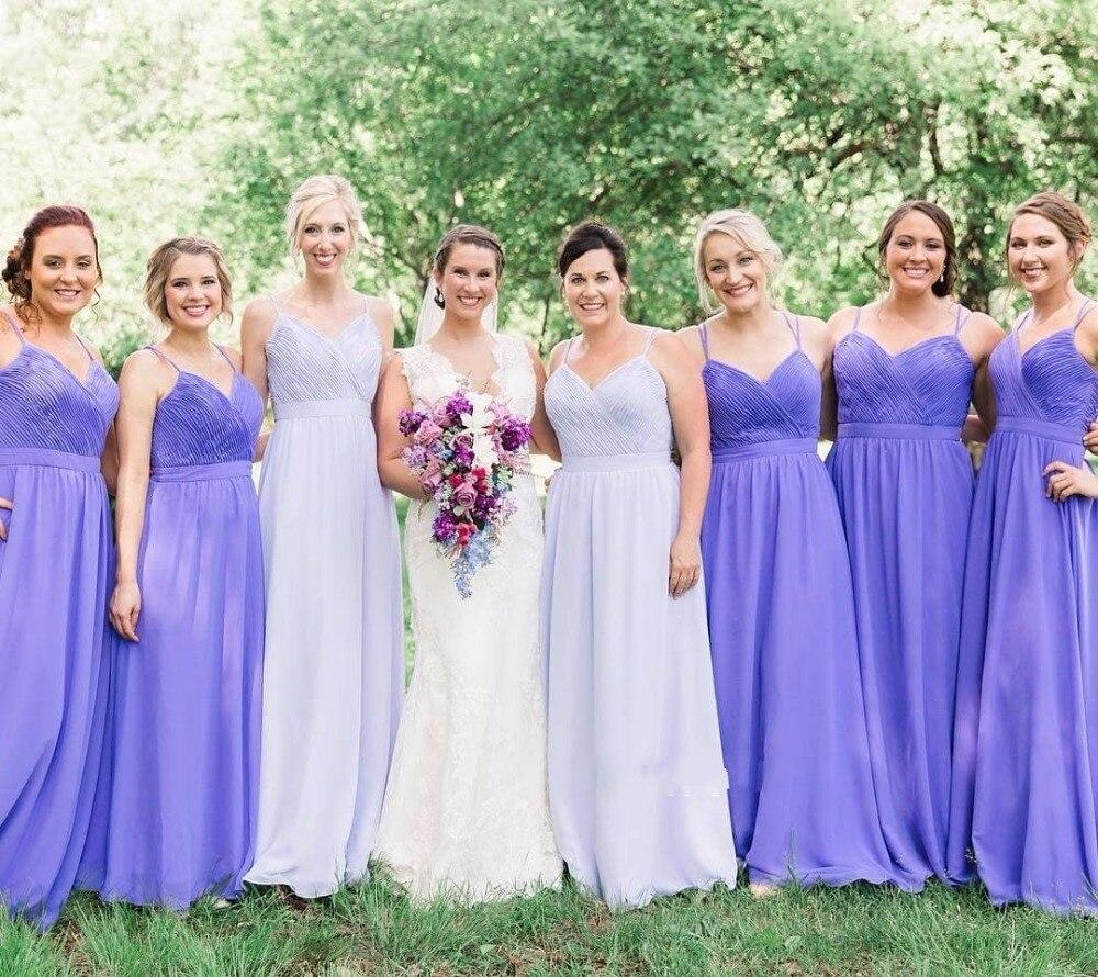 Simple Cheap Purple   Bridesmaid     Dresses   Long A-line Chiffon   Dress   For   Bridesmaid   2019