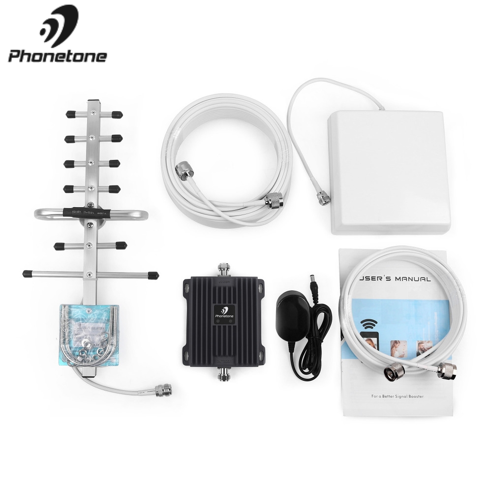 Amplificateur de Signal de téléphone portable 2G EGSM 900 MHz 3G WCDMA 2100 MHz Gain 65dB amplificateur répéteur de réseau GSM amplificateur + antennes Yagi - 6